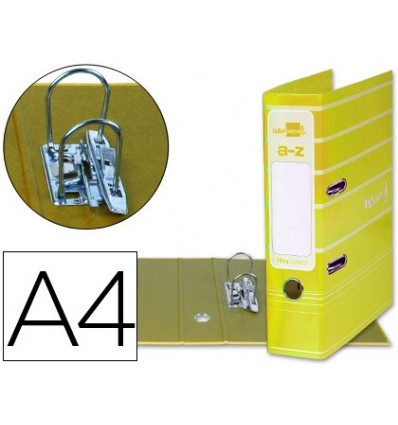 LEVER ARCH FILE LEADERPAPER A4 FILING SYSTEM LINED WITH RADO LOMO 75MM YELLOW COMPRESSOR METAL 5 Pcs