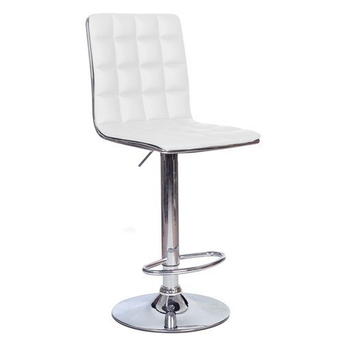 Stool CUBUS, Chrome Finish, Upholstered White