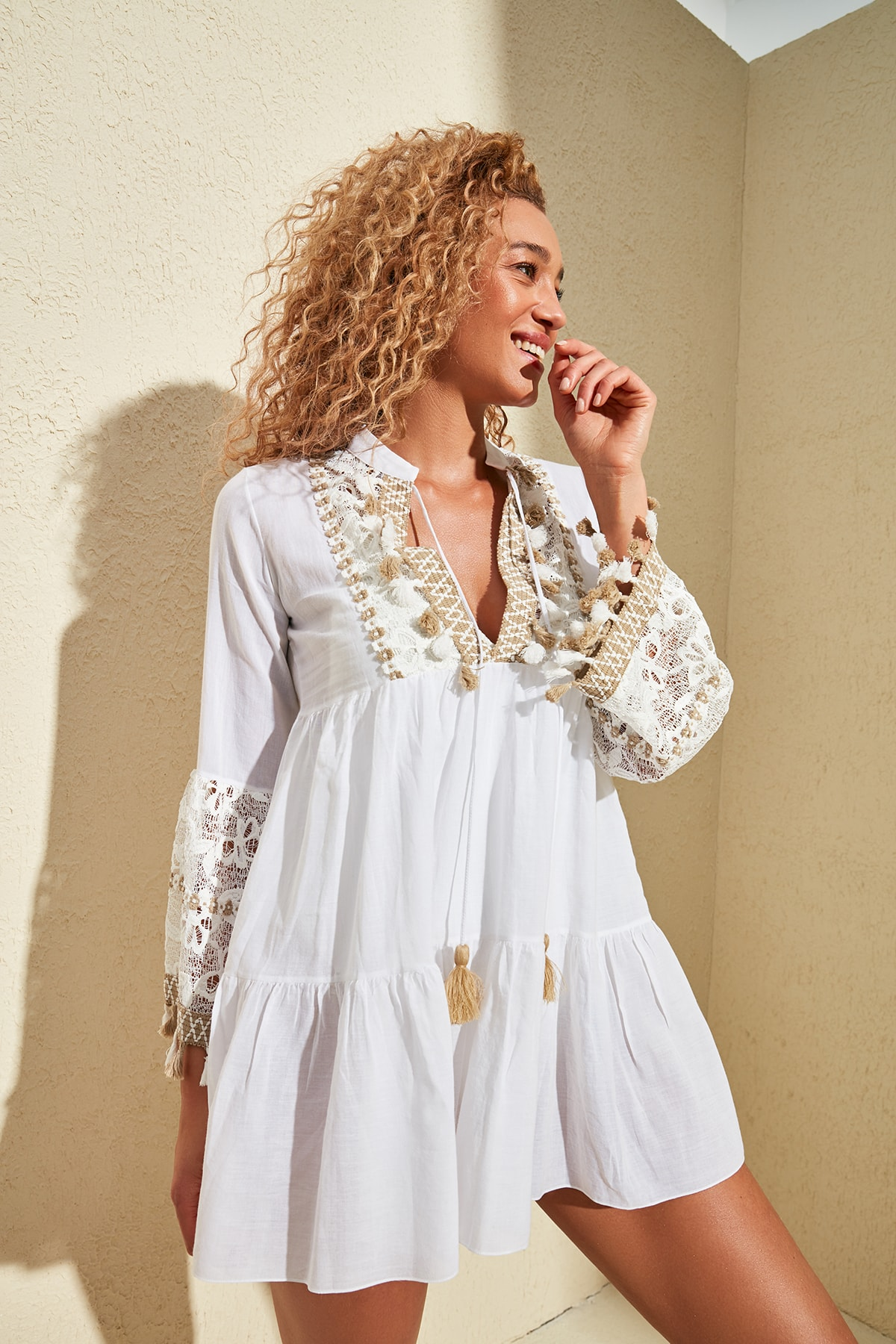 Trendyol Embroidered Tassel Detail Voile Dress TBESS20EL0862