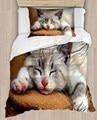 Sonst Grau Sleepy Cute Katze auf Sofa 4 Stück 3D Druck Baumwolle Satin Einzelnen Bettbezug Bettwäsche Set Kissen Fall bett Blatt-in Bettbezug aus Heim und Garten bei