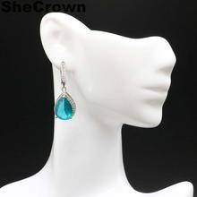 35x12mm SheCrown Created Rich Blue Aquamarine White CZ Gift For Sister Silver Earrings
