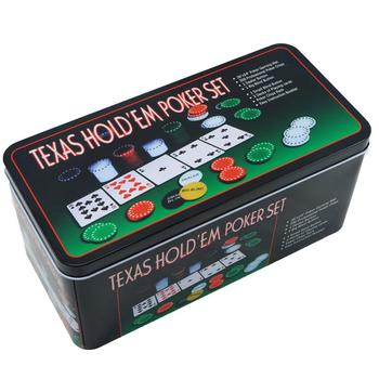 Metal Box poker Set, 200 poker chips, 2 covers, delivery button, small blind, big blind, game mat