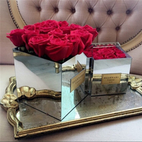 Acrylic Rose Mirror Box Rose Storage Case 9Holes Holy Gift Valentine's Day For Girlfriend Reflective Box Vase Without Flowers