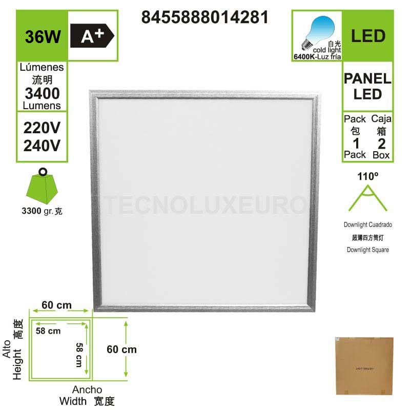 LED PANEL, 60X60 Cm, 40W, 220-240 V, 6400 K Luz Fría