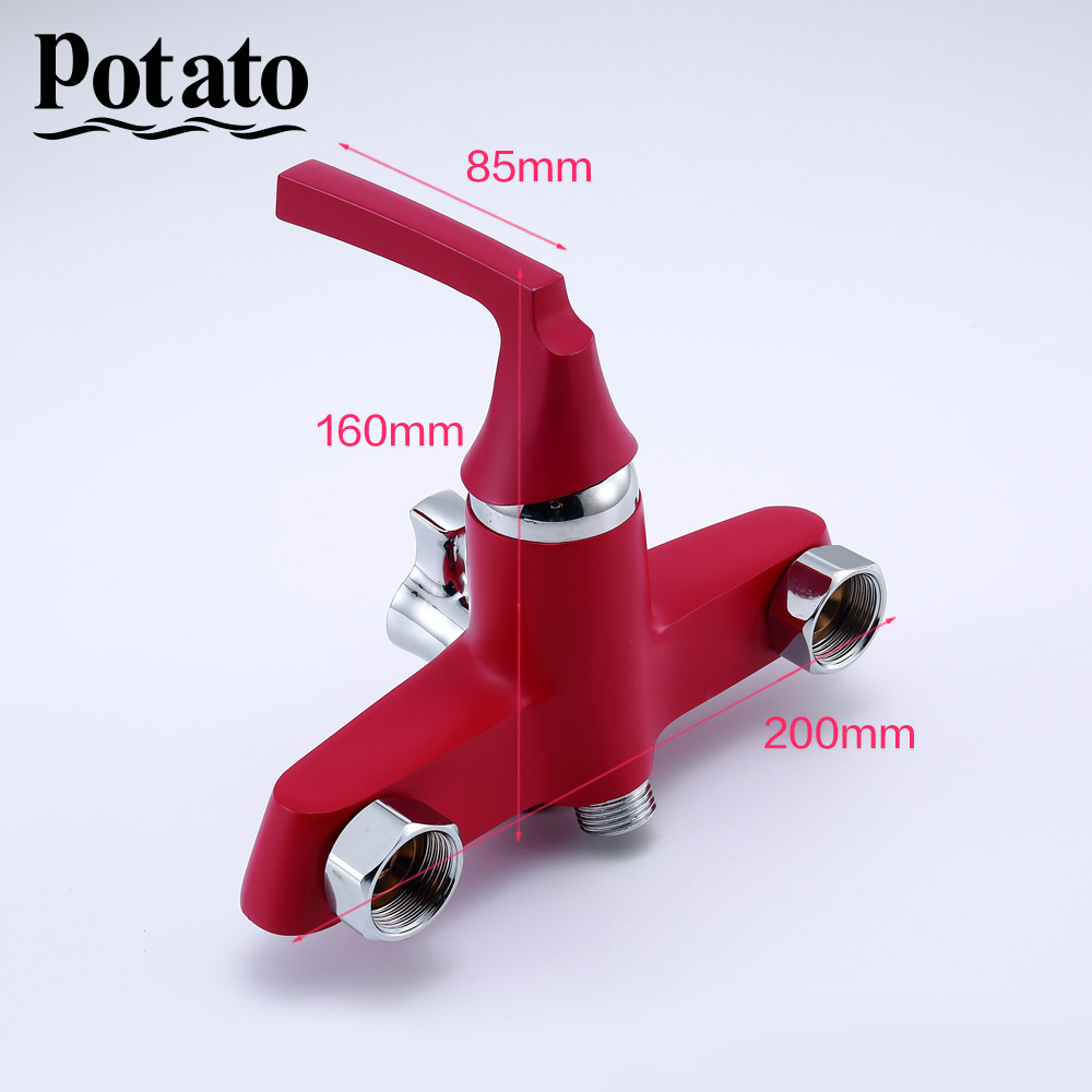 Potato 350mm Outlet Pipe Bath Shower Faucet with Brass Body Retro Red Spray Painted Surface p22229-16
