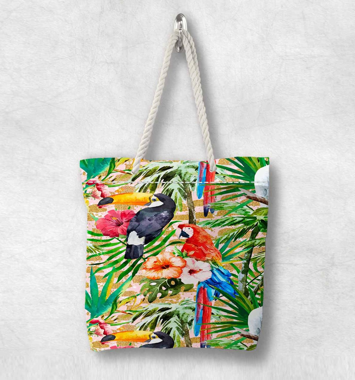 Else Tropical Jungle Green Leaves Parrots New Fashion White Rope Handle Canvas Bag Cotton Canvas Zippered Tote Bag Shoulder Bag