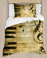 آخر براون الأسود الموسيقى ملاحظات البيانو Vintage 4 قطعة ثلاثية الأبعاد طباعة قطن حرير واحد لحاف لتغطية الفراش مجموعة كيس وسادة غطاء سرير