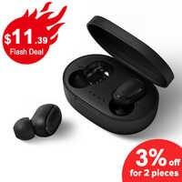 Bezprzewodowe słuchawki słuchawki A6S PK czerwone mi Airdots słuchawki Stereo Bluetooth 5.0 z mi c sportowe słuchawki douszne PK mi słuchawki TWS