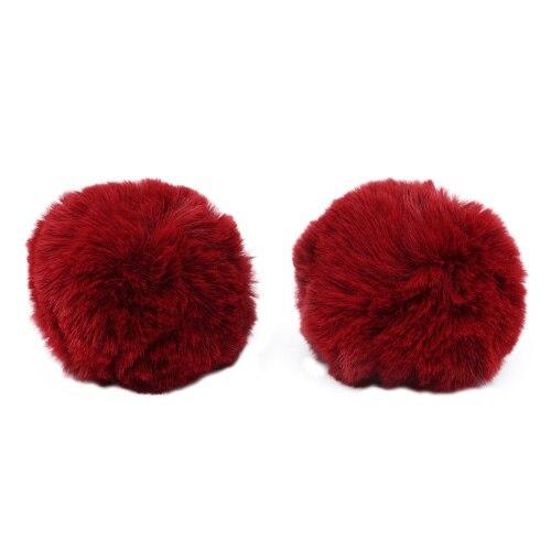 Pompon Made Of Artificial Fur (rabbit), D-8cm, 2 Pcs/pack (K Bordeaux)