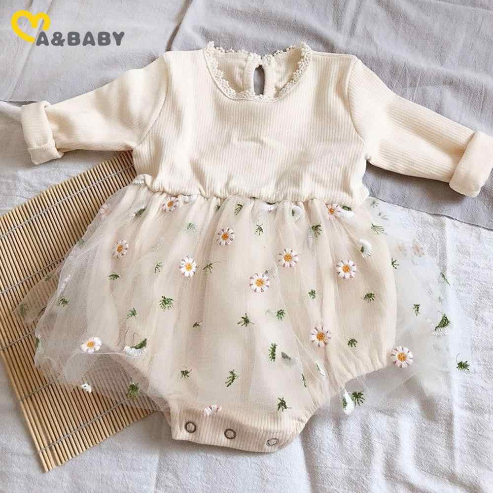 Newborn Baby Girl Lace Floral Romper Ruffle Long Sleeve Jumpsuit Tutu Dress Bodysuits Cute Lovely Clothing 0-24M