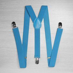 Hosenträger für hosen schmal (2,5 cm, 3 clips, blau) 52874