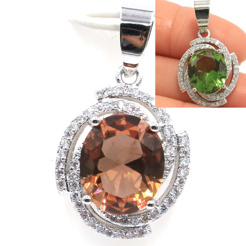 27x16mm Luxury Created Color Changing Spinel Zultanite White CZ Gift For Sister Silver Pendant