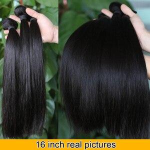 Image 3 - 32 30 дюймов прямые пряди волос с закрытием, натуральные кудрявые пучки волос пряди с фронтальным бразильским Реми 3 пряди с закрытием