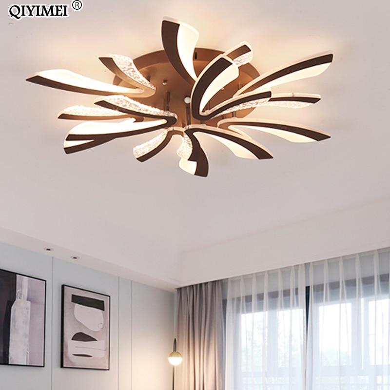 Modern LED ceiling chandelier lights for living room bedroom Dining Study Room White Black Body AC90 260V Chandeliers Fixtures-in Chandeliers from Lights & Lighting