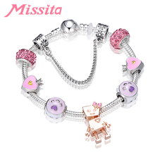 MISSITA Lovely Romantic Bella Robot Charm Bracelet with Pink Purple Beads Brand for Women Anniversary Gift Hot Sale
