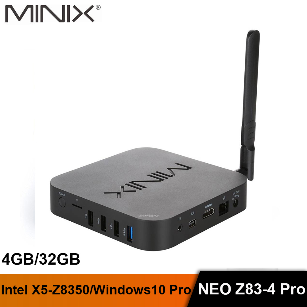 MINIX NEO Z83-4 Pro Intel MINI PC Offizielle Windows 10 Pro Mini PC Intel Atom x5-Z8350 4 GB/32 GB mit VESA Mount Tragbare MINI PC