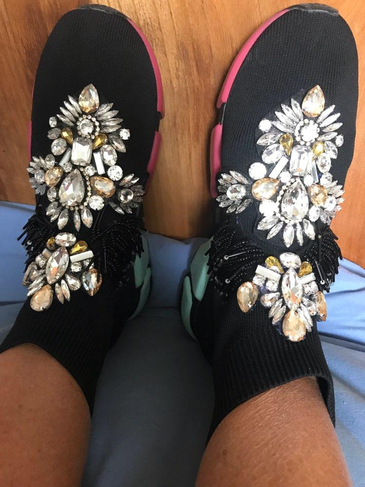 Sapatos de caminhada mulheres cristais sapatilhas