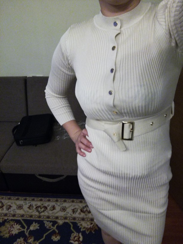 Elegant Single Breasted Women Sweater Dress O Neck Full Sleeve Sashes Stretch Vestidos Female Knee Length Knitted Dress photo review