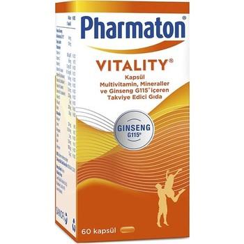 Pharmaton 60 Capsules Multivitamin Ginseng G115 Vitamin A,B,C,D,E + Folic Acid + Calcium, Iron Vitamin Magnesium Zinc Copper