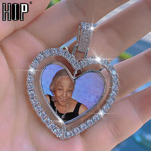 Hip Hop Custom Made Photo Heart Rotating Double-sided Iced Out Bling Cubic Zircon Necklace&Pendant For Men Jewelry Tennis Chain