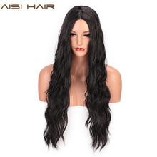 AISI HAIR Long Black Wavy Wig  Synthetic Wave Wigs for Black Women 26 inches Natural Middle Part Wigs Heat Resistant Hair long middle part wavy colormix synthetic wig