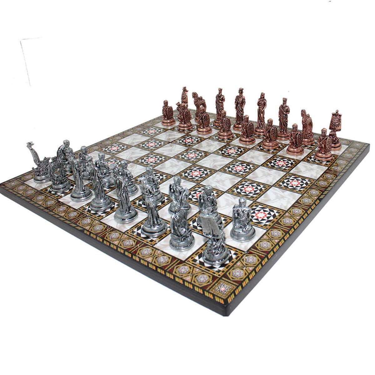 Historical Antique Copper Troy Figures Metal Chess Set,Handmade Pieces,Mother-of-Mother Pearl Wood Design Chess Board King 7cm