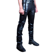 LinMe мужские блестящие джинсы из искусственной кожи мотоциклетные Длинные прямые брюки сценические костюмы обтягивающие леггинсы плюс размер Клубная одежда