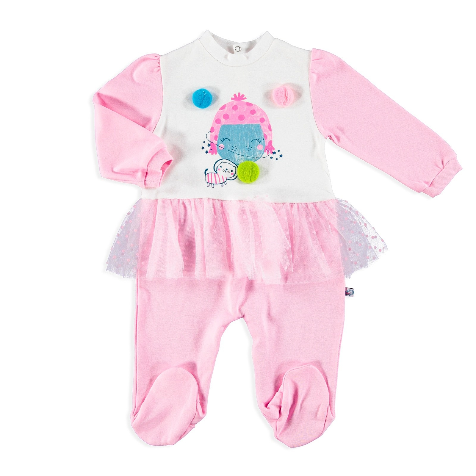 Ebebek Mymio Bow Tie Interlock Ruffle Detailed Footed Baby Romper