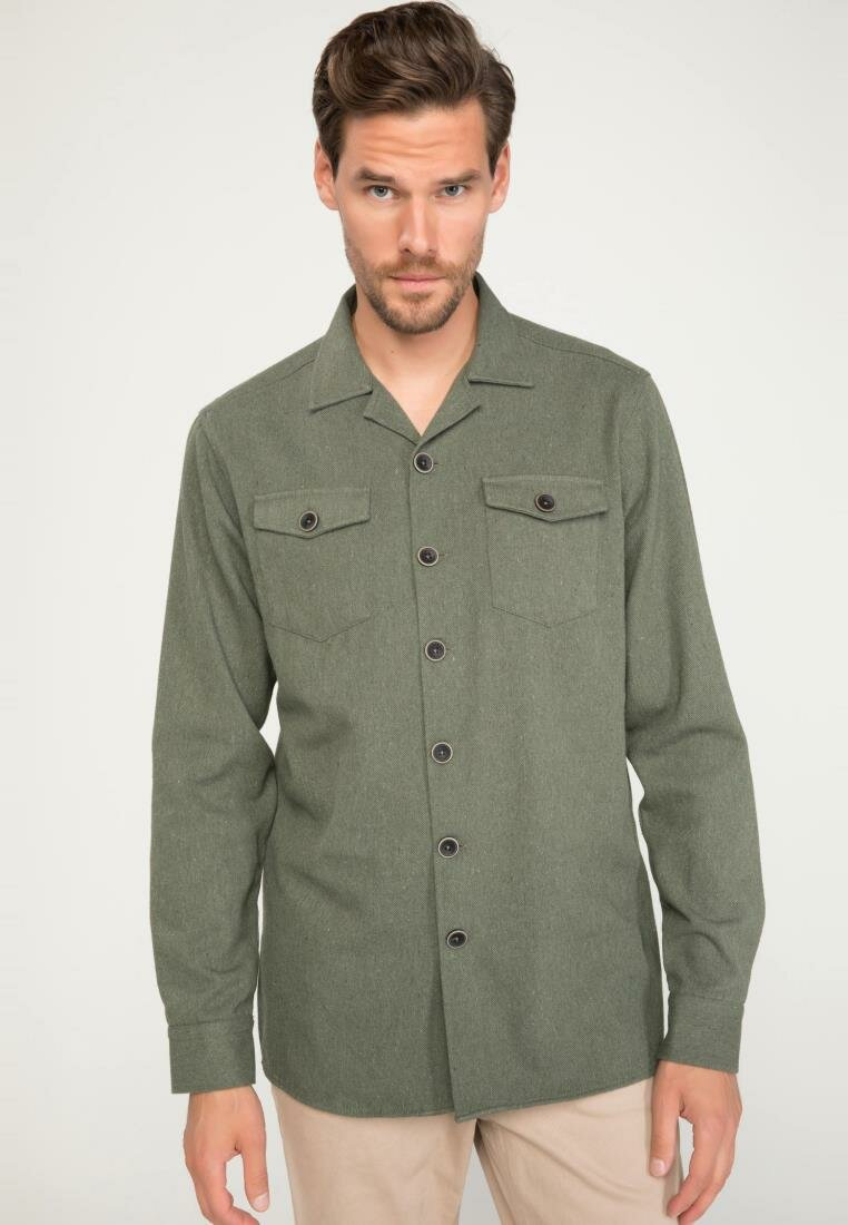 DeFacto Man Olive Green Casual Long Sleeve Shirt Men's Autumn Casual Pockets Decors Cotton Shirts Male Top Shirt-J1925AZ18AU