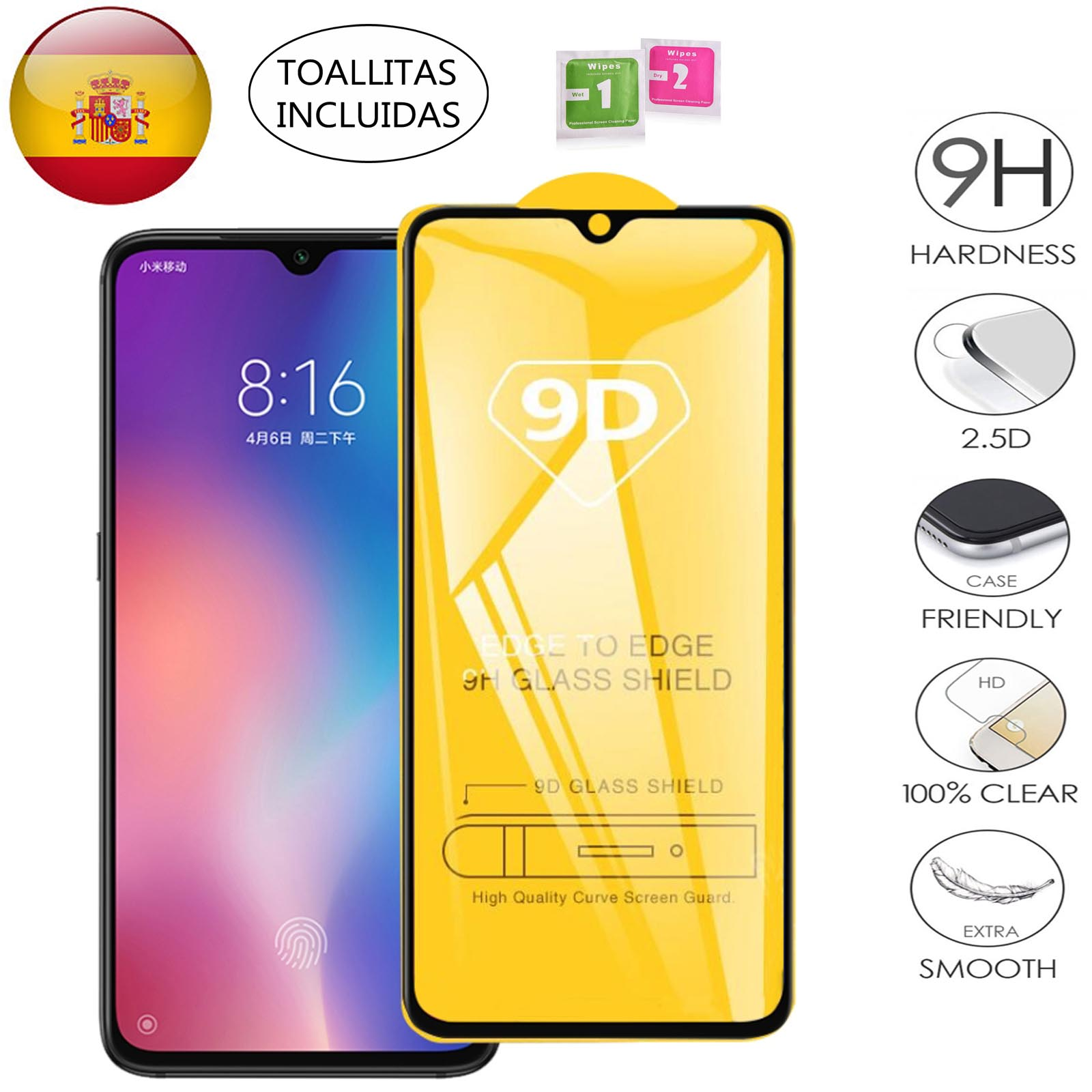 Full Tempered Glass Screen PROTECTOR For Xiaomi Redmi Note 7 In Black