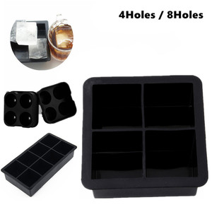 Black Big Jumbo King Size Large Silicone Ice Cube Square Tray Mold Mould 4-Cavity Drink Ice Cube Pudding Mold Mould Tray Tool(China)