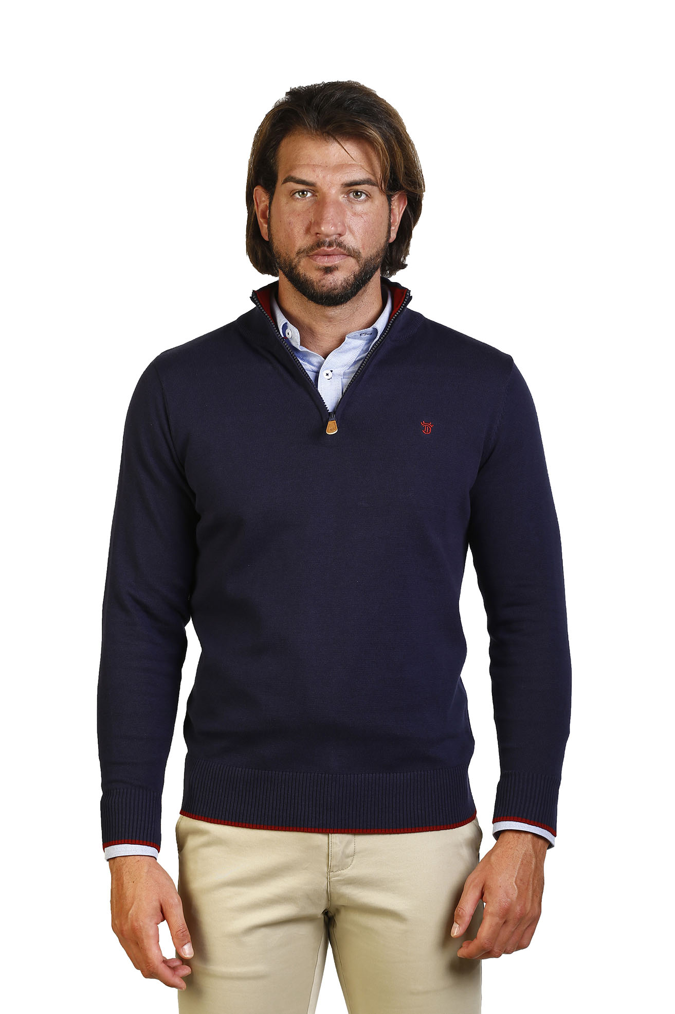 The Time Of Noggin Jersey Neck Collar Zipper Length Algodon Navy Men