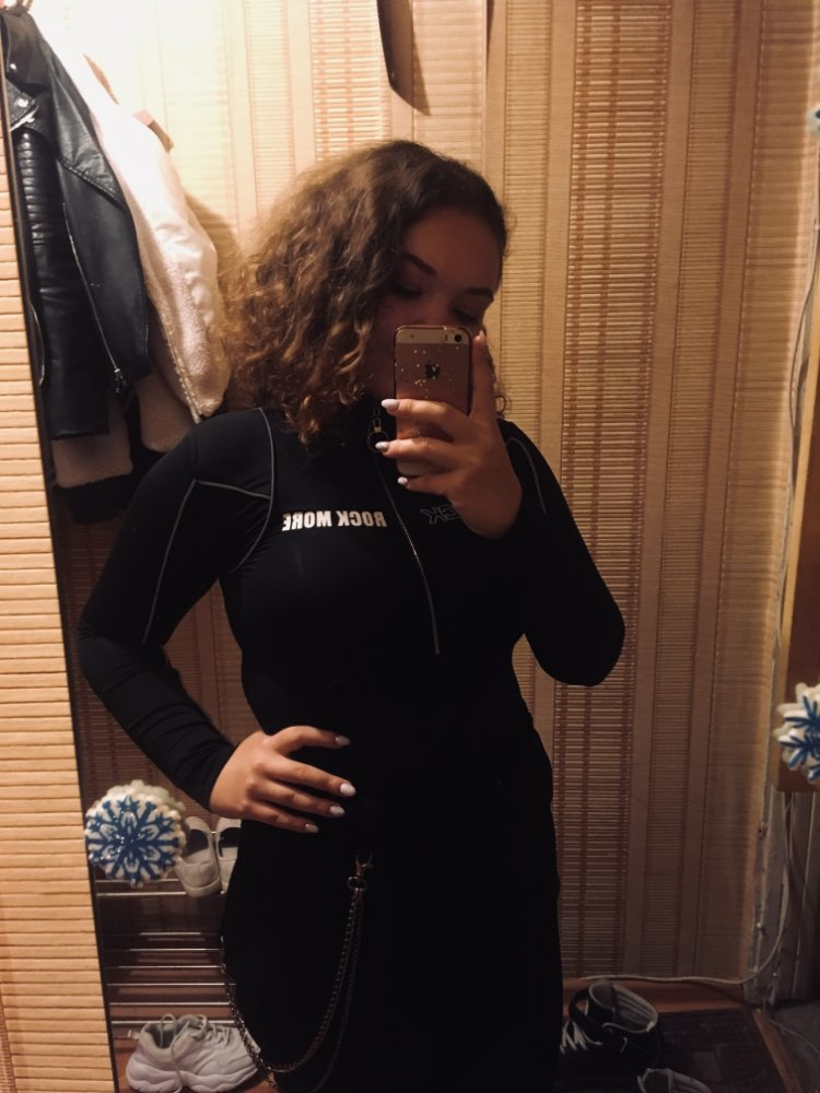 Turtleneck Long Sleeve Bodysuit Zipper Black Reflective Stripes Graphic Casual Elegant Women Body Sexy Bodies Ladies photo review