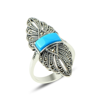 Silver 925 Sterling Marcasite & Turquoise Gemstone Rings