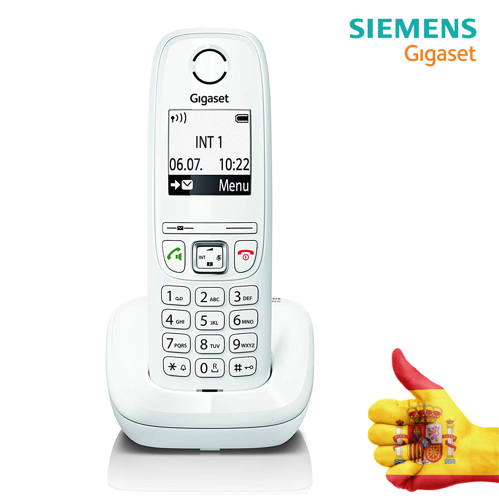 Gigaset AS405-Cordless Phone With Handsfree, Great Screen With Lyrics Giants, Agenda 100 Contacts, Color White