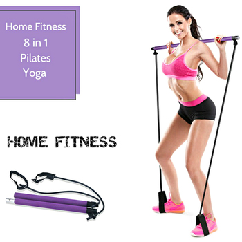 Pilates Exercise Stick Toning Bar Fitness Working from Home Women Yoga Gym Workout Body Abdominal Resistance Bands Rope Puller manila hemp 1pc 5cmx12meter 2 x 40ft battle rope exercise batting ropes gym muscle toning metabolic workout
