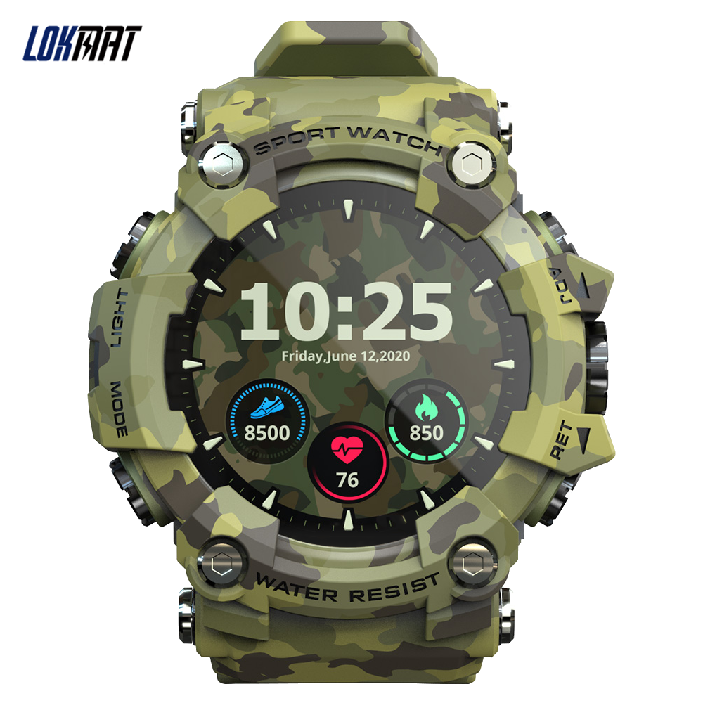 LOKMAT ATTACK Touch Screen Smart Watch Fitness Tracker Heart Rate Blood Pressure Monitor Sports Men