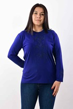 Women's Large Size Front And Sleeves Gemstone Saks Blue Blouse 2020