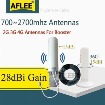 Всенаправленная Внутренняя антенна AFLEE 28dBi 4G, 700 ~ 2700 МГц, 4G, 15 метров, кабель для 2G 3G 4G, Усилитель мобильного сигнала