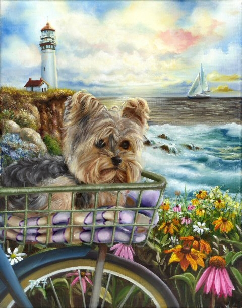Painting On The Numbers Dog At The Lighthouse, 40x50 Cm