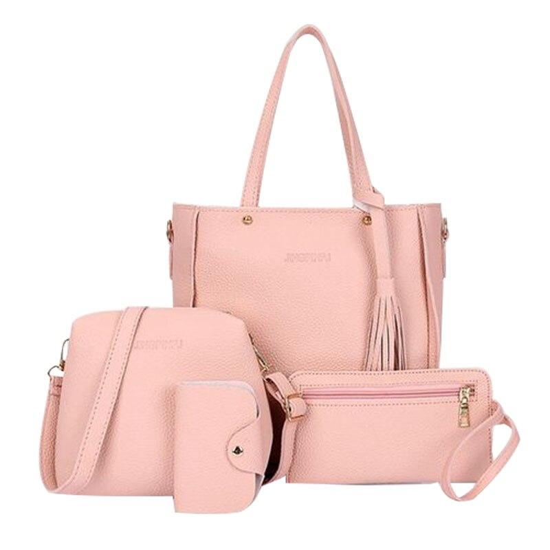 4pcs matching women's fashion shoulder bag PU leather solid color handbag casual multi-function purse