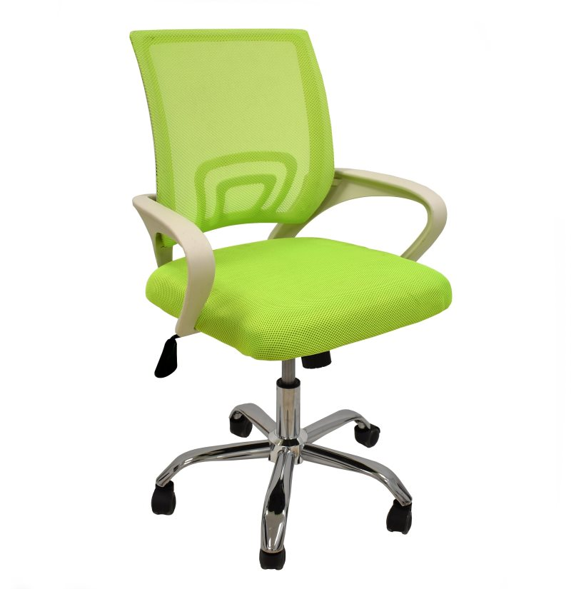 Office Armchair FISS NEW, White, Gas, Rocker, Mesh And Woven Green