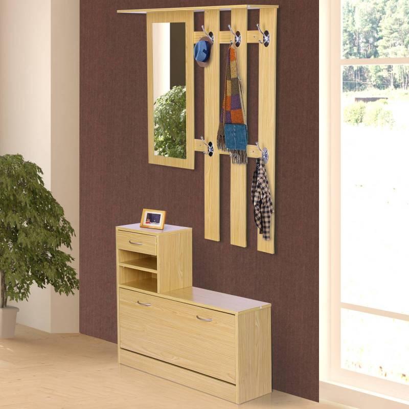 HomCom®Ensemble de meubles entrée couloir couloir 3 pièces ensemble étagère miroir étagère à chaussures avec tiroir 90x22x116cm