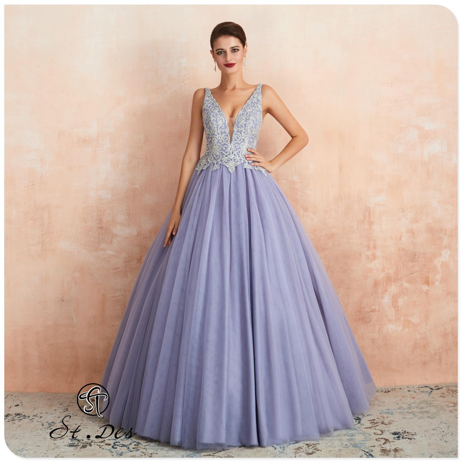 NEW 2020 St.Des A-line V-neck Lilac Russian Sequins Beading Sleeveless Elegant Designer Floor Length Evening Dress Party Dress