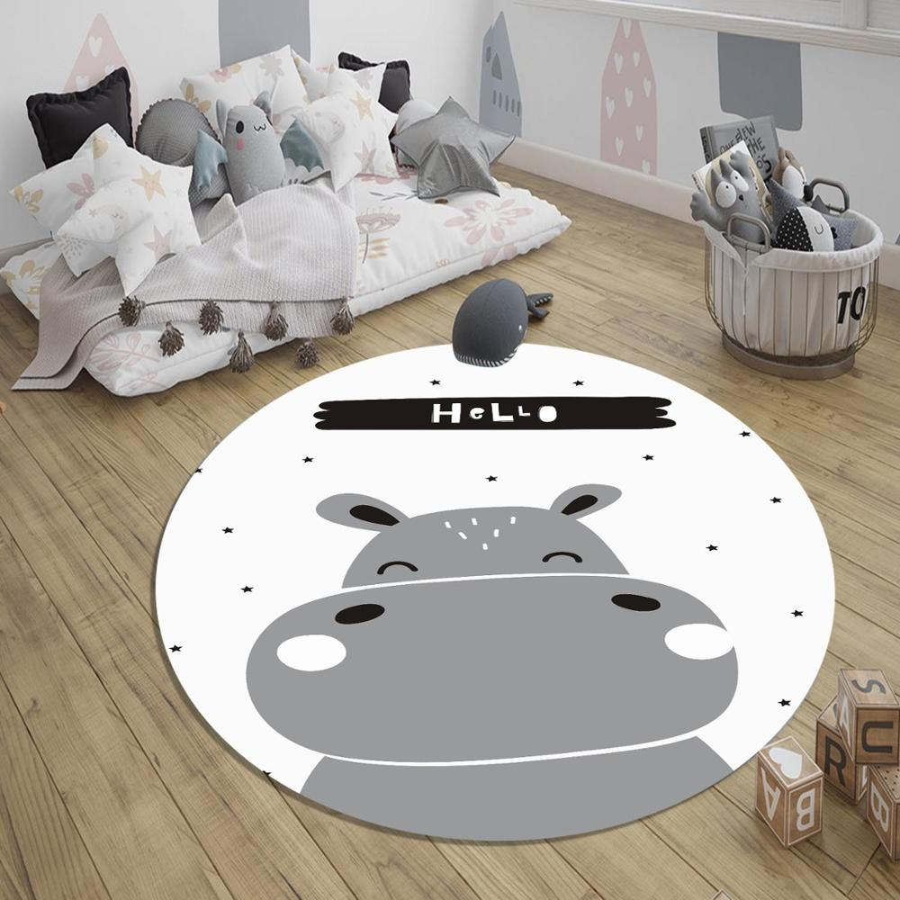 Else Gray Black Little Hippo 3d Pattern Print Anti Slip Back Round Carpets Area Round Rug For Kids Baby Children Room