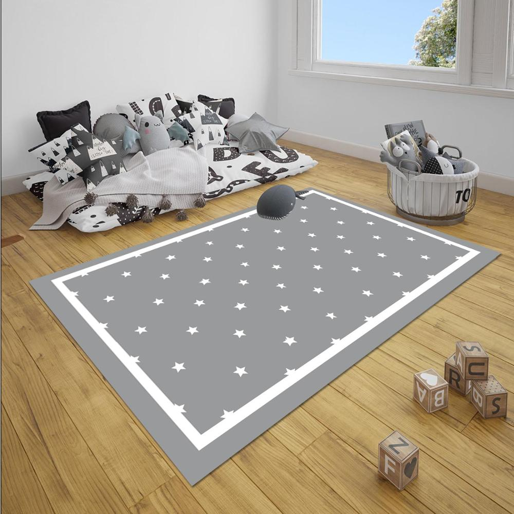 Else Gray White Borders Stars Nordec Unisex 3d Print Non Slip Microfiber Children Baby Kids Room Decorative Area Rug Mat