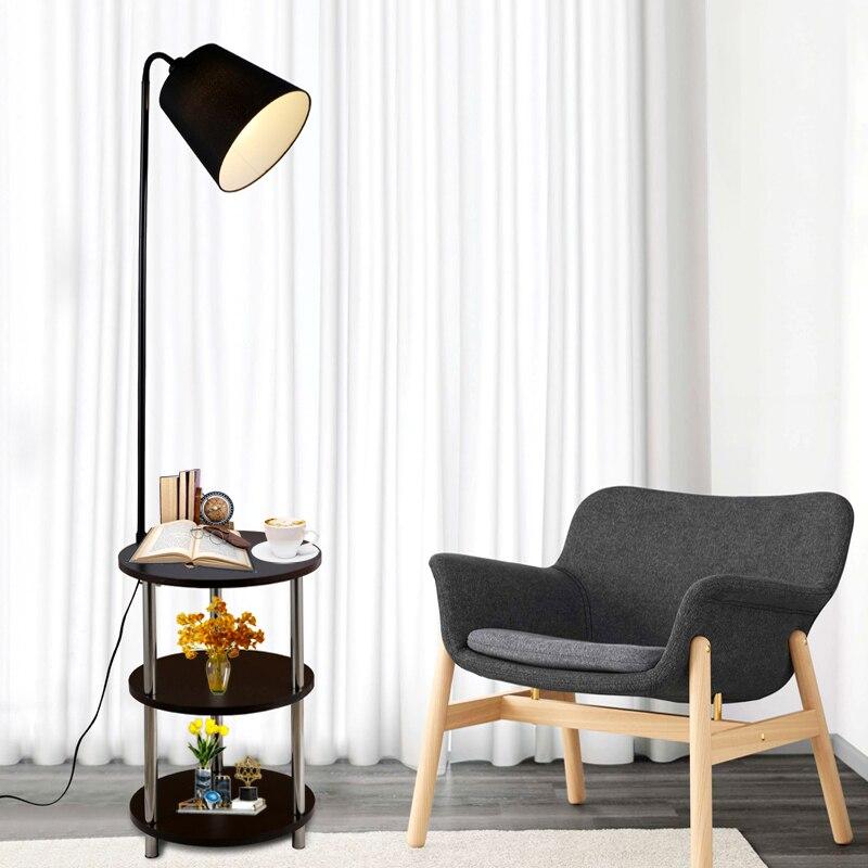 Nordic Solid Wood Modern 220V360 Degree Rotating Leisure Small Table Floor Lamp LED Coffee Table Living Room Bedroom Villa Lamp