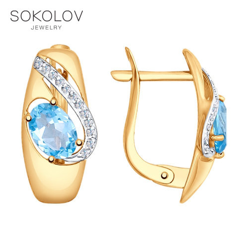 Sokolov drop earrings with stones with stones with stones with stones with stones with stones with stones with stones with stones with stones with stones with stones with stones in gold with Topaz and cubic zirconia fashion jewelry 585 women's male