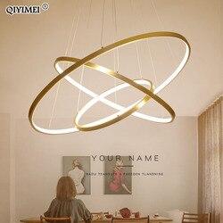 Moderne LED Anhänger lichter für wohnzimmer esszimmer weiß goldene kaffee schwarz Kreis Ringe aluminium körper Lampe leuchten hause lampe