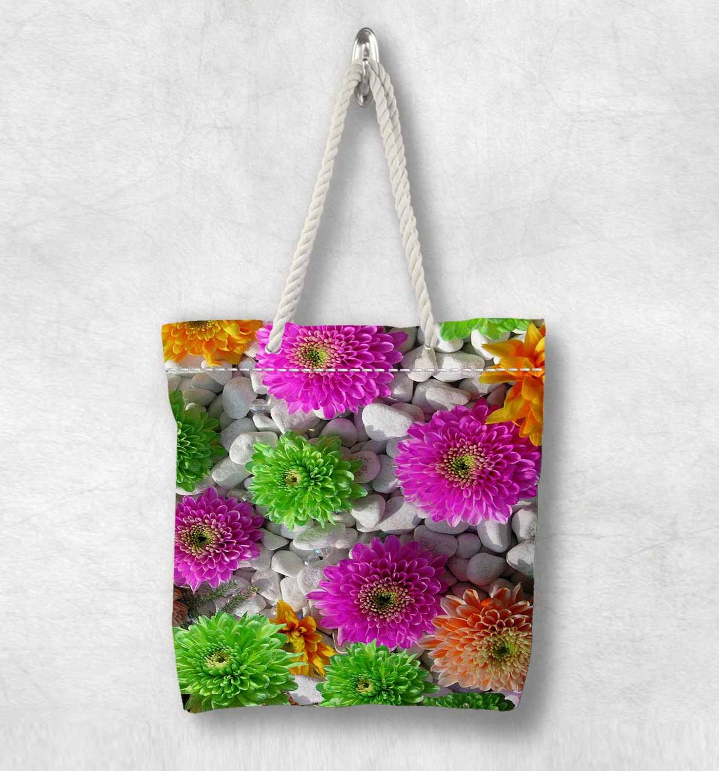 Else Stones On Green Pink Orange Flowers New Fashion White Rope Handle Canvas Bag Cotton Canvas Zippered Tote Bag Shoulder Bag